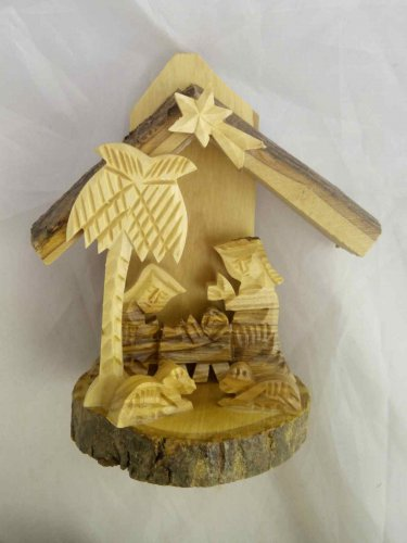 Olive Wood Christmas Nativity Creche Scene (G - BIS14)