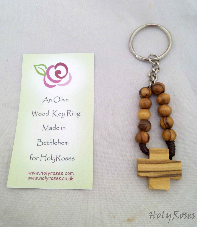 Olive Wood Finger Rosary Keyring Key Ring Chain Prayer Beads