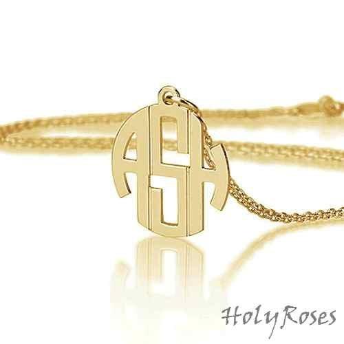 18K Gold Plated Silver Elegant Mini Monogram Pendant Necklace Rollo Chain