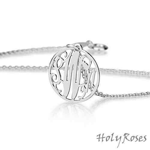 Sterling Silver 925 Elegant Mini Circle Monogram Pendant Necklace Personalized