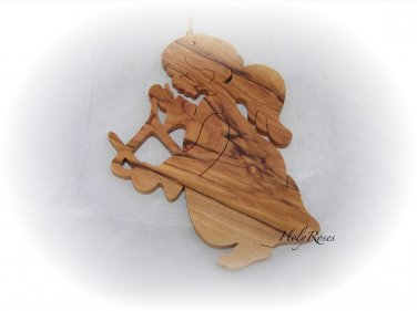 Angel & Triangle - Olive Wood Christmas Tree Ornament Decoration HolyLand GiftHorn