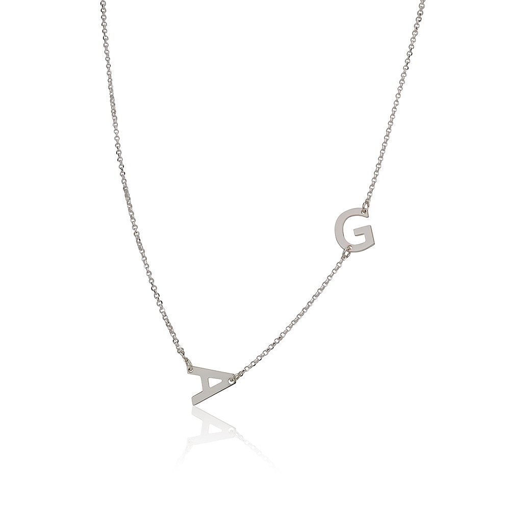 Sterling Silver Sideways 2 Initials Pendant Necklace Link