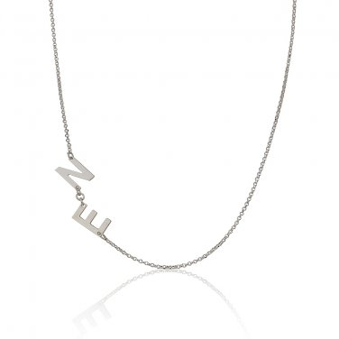 Sterling Silver Sideways 2 Initials Pendant Necklace Link Chain Perfect Gift v3