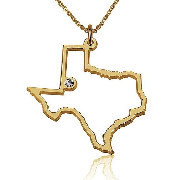 Any USA State Outline Gold over Silver Pendant Necklace Swarowski Stone 010200GP