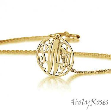18K Gold Plated Silver Elegant Mini Circle Monogram Pendant Necklace Free Ship