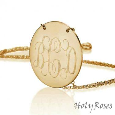 18K Gold Plated Elegant Disc Engraved Monogram Pendant Necklace Chain Free Ship