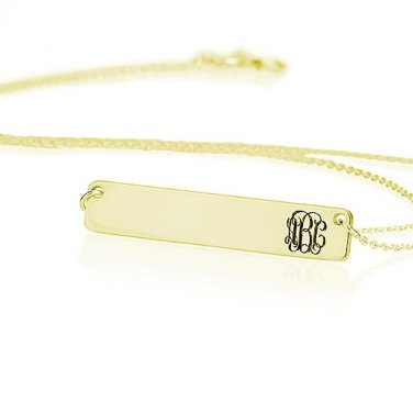 18K Gold Plated Bar Personalized with Curly Monogram Necklace Pendant