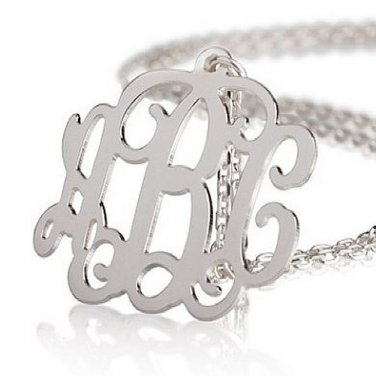 Sterling Silver 925 Monogram Necklace - Up to 3 Letters - Shimmering Rollo Chain