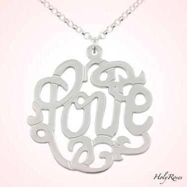 "Sterling Silver 925 Monogram Style ""Love"" Necklace Shimmering Rollo Chain"