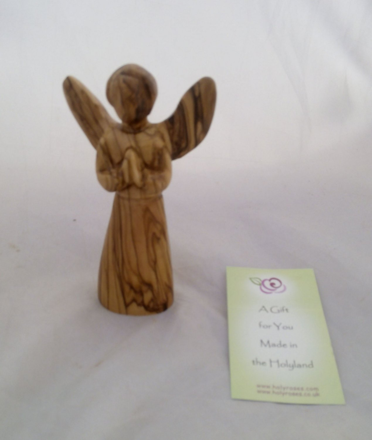Hand Made Olive Wood Angel in Prayer Figurine Statue 13.5 cm 5""