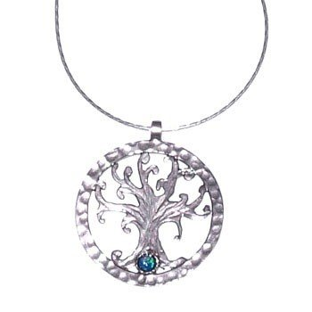 """Sterling Silver Tree of Life Pendant 18""""  Chain with Opals Bramble Collection Made in Holyland"""