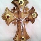 "Olive Wood Jerusalem Cross Crucifix with 4 Vials 10"" 25cm"