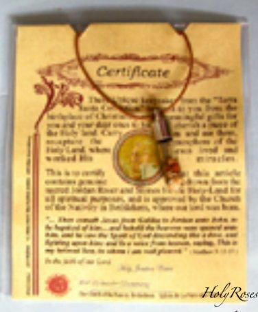 Holy Jordan Water & Stones Terra Sancta Vial Pendant Necklace Christian Holyland
