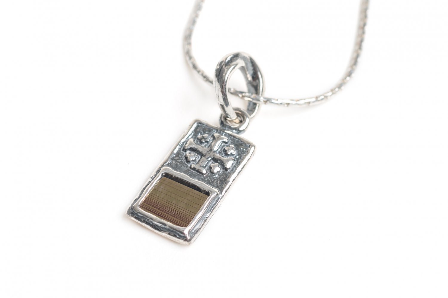 Sterling Silver 925 Delicate Cross with Nano Bible Pendant Chain New Testament