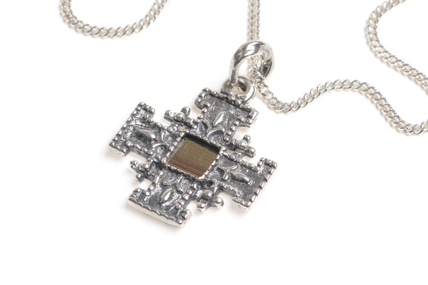 Sterling Silver 925 Jerusalem Cross with Nano Bible Pendant Chain New Testament