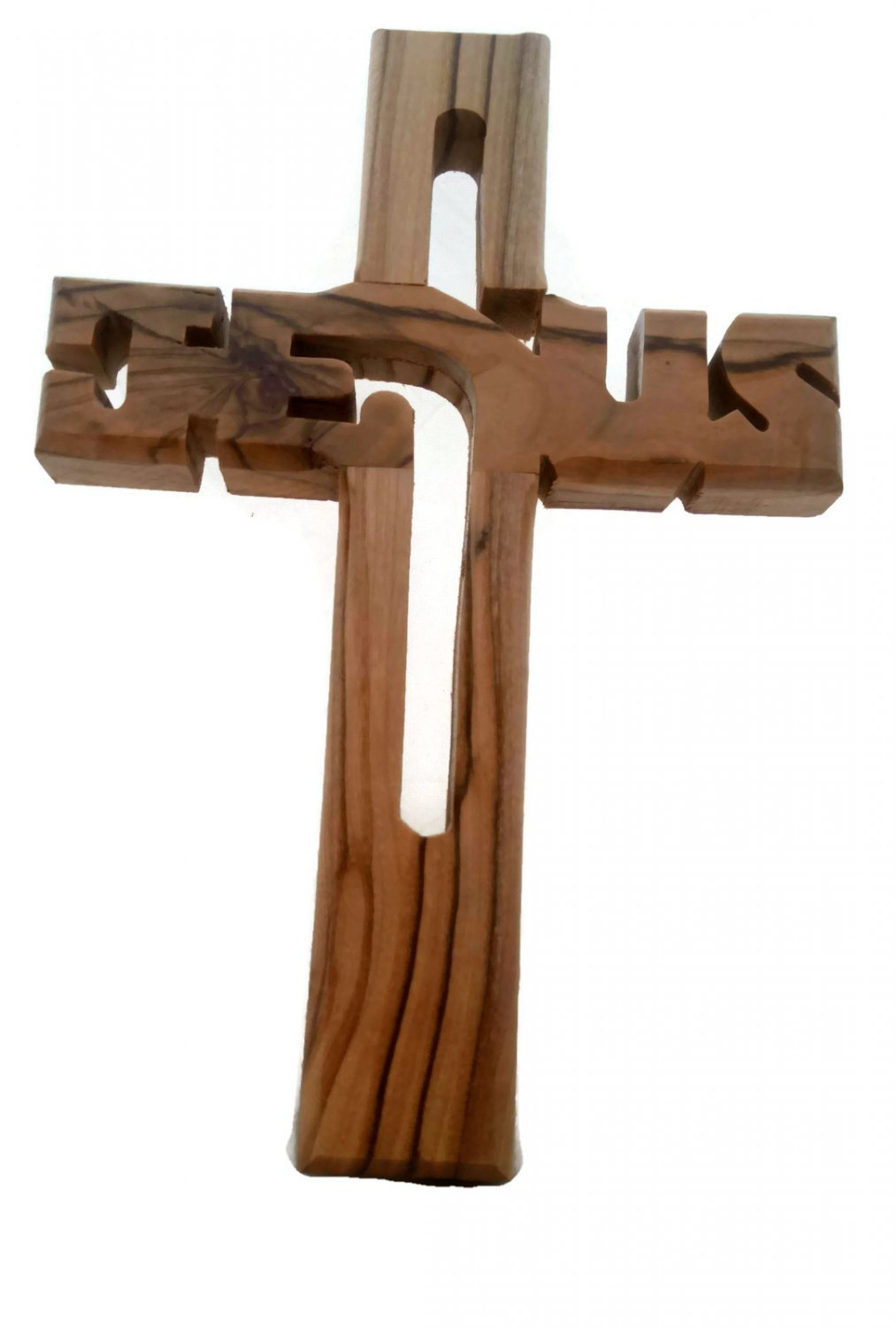 "Olive Wood Jesus Cut Out Wall Cross  6"" / 15 cm"