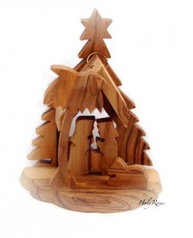 OLIVE WOOD CHRISTMAS NATIVITY CARVED BARK (C)