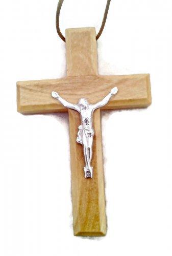 Olive Wood Crucifix Pendant Deluxe Large