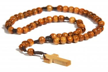 Olive Wood Rope (Brown) Rosary with Cross - from Bethlehem