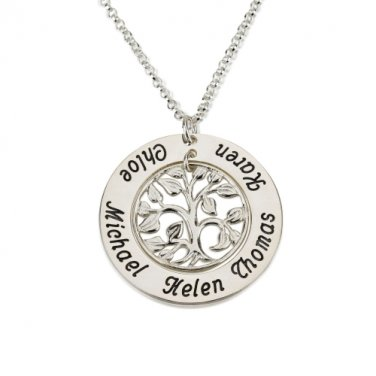 A Round Sterling Silver Family Tree Necklace Pendant Personalized Up to 5 Names