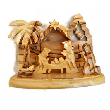 Olive Wood Carved Nativity Scene with Bell Bethlehem