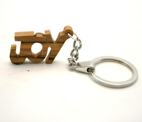 Olive Wood JOY Keyring Key Chain from the Inspirational Range - Hand Carved in Bethlehem