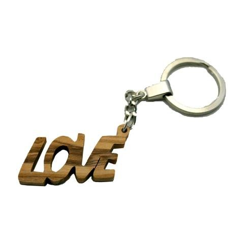 Olive Wood LOVE Keyring Key Chain from the Inspirational Range - Hand Carved in Bethlehem