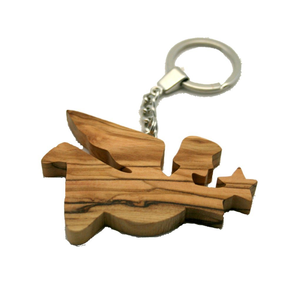 Olive Wood Flying Angel with Star Keyring Key Ring - Hand Carved in Bethlehem