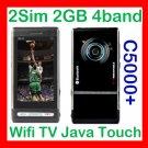 Free ship C5000+  Quadband+2Sim+WIFI+TV+FM+JAVA+2GB+ 3page touch flow menu