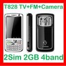 Free ship Unlocked Unlcok Anycool T828 TV mobile 2SIM 2 camera quadband