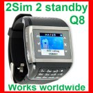 Free ship Latest 2SIM 2 standby watch phone Q8,unlock Touch scree