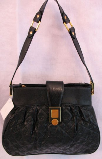 Black Quilted handbag with Gold hardware Bag Purse