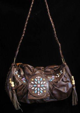 Brown beaded western UNIQUE handbag bag purse