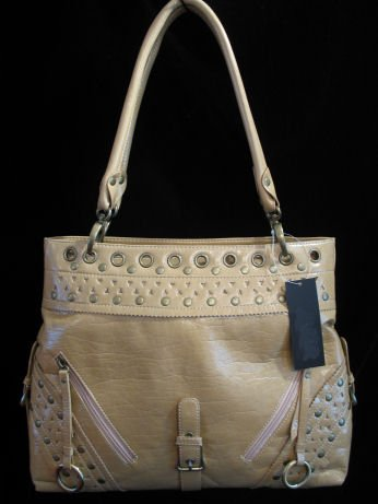 Tan Patent leather like studded handbag bag purse tote