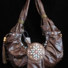 Western style beaded brown handbag purse bag NWT s