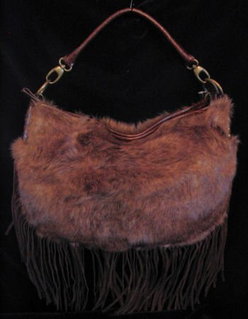 Faux Fur handbag with croc & suede like trim purse bag