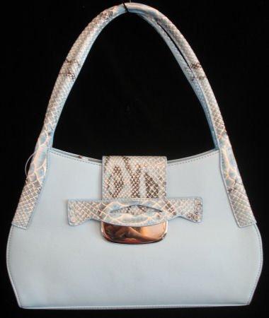 Light blue leather like fashion handbag bag purse