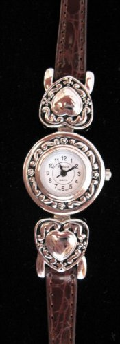 Silver tone watch Heart Brown leather womens watch