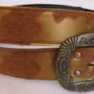 Gold & Tan Faux Fur & Leather Belt Womens Accessories