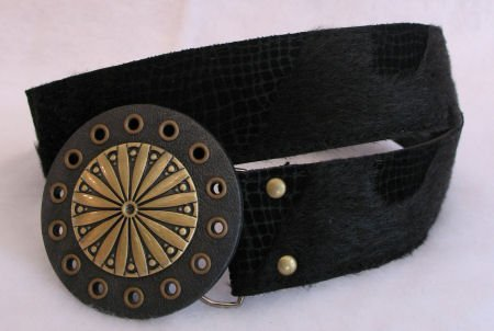 Black Faux Fur Belt Brass Tone Buckle accessories