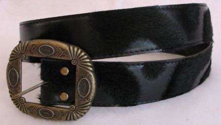 Black Faux Leather and fur womens belt Accessories