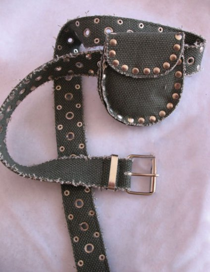 Olive Green Canvas Belt with Money Pouch