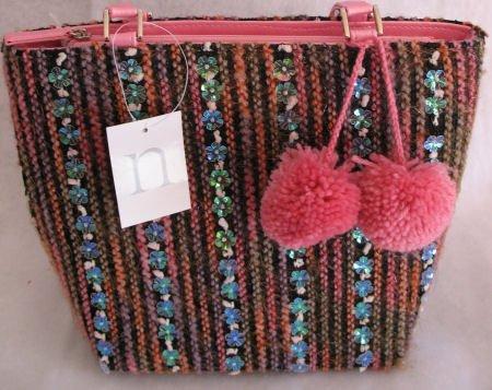 Pink Tweed Winter Handbag Bag Purse Pom Pom
