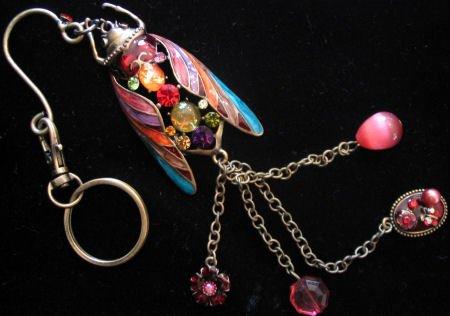 Large Keychain purse belt clip hook Enamel Beetle