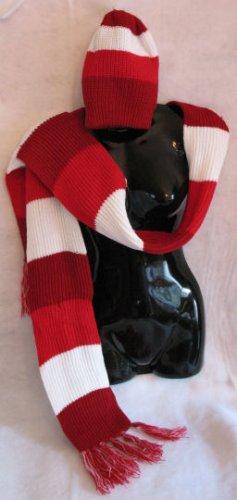 Maroon Red White stripe Scarf & Hat set scarves hats