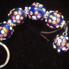 Blue lamp work bead keychain FREE Shipping