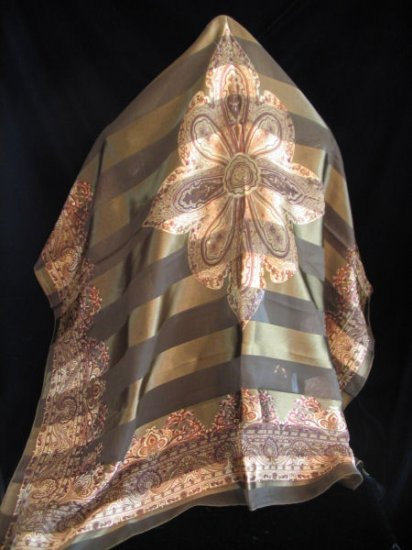 Large Square Scarf Fall colors Wrap Shawl Green