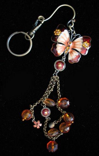 Butterfly key chain belt hook purse clip LARGE Oranges