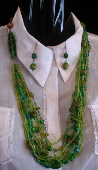 Blue and green glass wood bead necklace & earrings