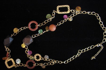 Lighweight large necklace wood shell beads gold tone